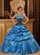 Salvia Blue Quinceanera Dress With Spaghetti Straps Puffy Skirt