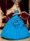 Handmade Flower Appliqued Azure Quinceanera Thick Dress Nice