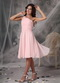 One Shoulder Knee-length Baby Pink Jr Bridesmaid Dress lovely