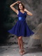 V-neck Mini-length Royal Blue Chiffon Bridesmaid Dress lovely