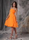 Sunrise Orange Strapless Knee-length Bridesmaid Dress Junior lovely