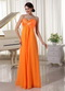 Pretty Orange Chiffon Long Bridesmaid Dress For Juniors lovely