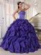 Heliotrope Ruffled Organza Puffy Skirt Quinceanera Gown