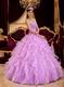 Pretty Lilac And Pink Ruffle Skirt Girls Quince Party Ball Gown