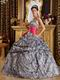 Popular Zebra Printed Fabric Quinceanera Dress With Fuchsia Sash