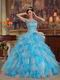 Aqua And White Ruffles Ombre Quinceanera Dress By Designer