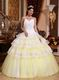 Spaghetti Straps Lace Layers White Quinceanera Dress Pretty