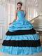 V Neckline Cheap Sky Blue Quinceanera Dress With Black
