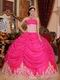 Appliqued Bottom Skirt Hot Pink Quince Party Dress Cheap