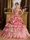 Dark Pink Taffeta Dress to Young Girl Adult Ceremony Party