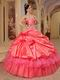 Coral Red And Hot Pink Quinceanera Dress With One Shoulder Skirt