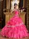 Strapless Floor Length Corset Quinceanera Dress In Hot Pink