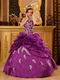 Designer Dark Magenta Appliqued Dress To Quinceanera Party
