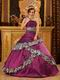 Dark Magenta And Printed Zebra Layers Skirt Quinceanera Gown