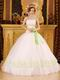 White Quinceanera Dress With Spring Green Embroidery