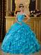 Sweet heart Ruffles Skirt Aqua Blue Sale Quinceanera Gown