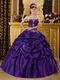 Cheap Strapless Floor Length Puffy Quinceanera Dress