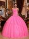 Hot Pink Strapless Puffy Skirt Girls Wear Quinceanera Dress