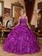 Purple Single One Shoulder Neck Puffy Military Ball Gown