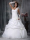 One Shoulder White Bridal Dress With Handcrafted Flowers Low Price
