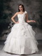 White A-line One Shoulder Organza Puffy Wedding Dress Cheap Low Price