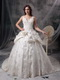 Ivory Princess V-neck Puffy Lace Bridal Gown Custom Made Low Price