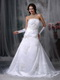Embroidery Strapless Organza Destination Wedding Dress Low Price