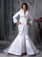 Mermaid Long Sleeves Collar Warm Wedding Dress For Winter Low Price
