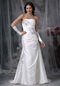 Strapless Affordable White Wedding Dress With Grey Details Low Price