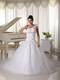 One Shoulder Wedding Gown Watteau Train With Appliques Bodice Low Price