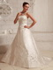 Satin Embroidery Over Bodice A-line Wedding Dress With Court Train Low Price