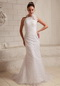 Lace Hand Made Flower Sheath Modest Slim Wedding Dress With Halter Low Price