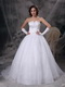 V Shaped Strapless Organza Embrioderied Wedding Dress Low Price
