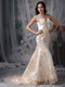 Mermaid Bridal Dress With Champagne Appliques Details Low Price