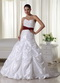 White Chapel Train Wedding Dress With Wine Red Belt Low Price