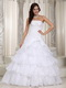Strapless Handmade Flower Wedding Dress Layers Design Skirt Low Price