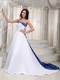 Nice Romantic Embroidery Stain Wedding Dress With Royal Blue Low Price