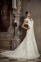 V-neck Chapel Train Rose Flowers Organza Wedding Dress Ivory Low Price