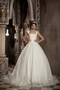 Modest Ball Gown Square Wide Straps Chapel Train Lace Bridal Gowns Low Price