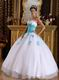 Sweetheart White Dress With Aqua Applique To Winter Quinceanera