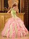 One Shoulder Interphase Pink Ruffles Skirt Quinceanera Dress