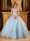 Baby Blue Organza Warm Winter Quinceanera Party Dress
