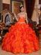 Ruffled Orange Dress Wear To Quinceanera With Applique