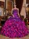 Straps Purple and Fuchsia Quinceanera Gown With Embroidery