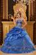 Strapless Embroidered Bottom Cerulean Quinceanera Dress