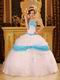 Perfect Embroidered White Quinceanera Dress With Aqua Details