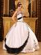 Classical Style White Evening Ball Dress With Black Embroidery