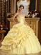 Embroidery Daffodil Military Gown With Side Flower Decorate