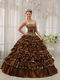 Leopard And Brown Interphase Layers Adult Ceremony Dress