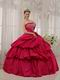 Deep Rose Pink Puffy Skirt Princess Ball Gown Prom Dress